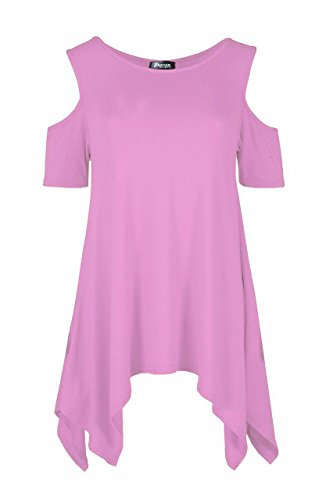 Ladies Jersey Hanky Hem Kalt Schulter Oversized Flared Top EUR Größe 36-54 Hell-Pink