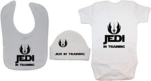 Jedi en la formación Baby Bodysuit/Romper, alimentando Babero y Beanie Hat/Cap...