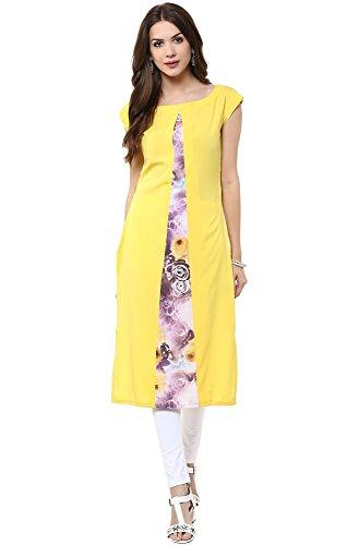Janasya Women's A-Line Crepe Kurti (JNE1405-YELLOW-KR-UDF16_Yellow_XX-Large)