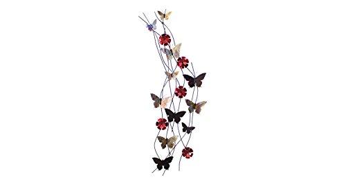 Stravagante scultura da parete in metallo KunstLoft® 'Volo di farfalle' 48x134x8cm | Decorazione parete XXL design fatta a mano | Farfalle e fiori rossa | Quadro di metallo lussuoso plastico