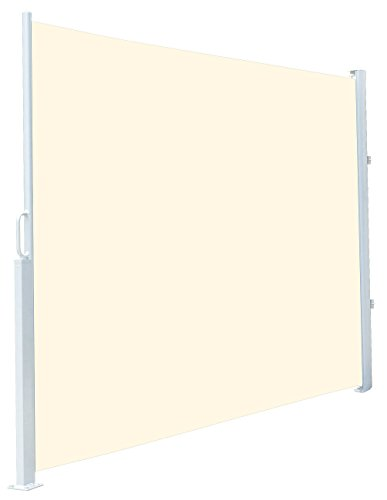 Royal Gardineer Markise: Seitenmarkise 180 x 300 cm, für Garten, Balkon und Terrasse, beige (Seitenmarkise mit Bodenhalterung)