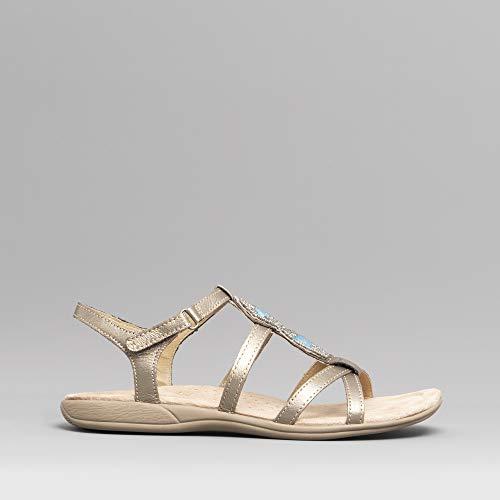 earth spirit ellensburg ladies leather embellished sandals platinum