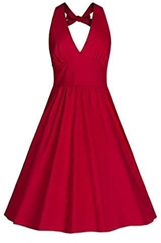U-Shot Robe dos nu de bal en satin Style Audrey Hepburn années50 Rockabilly - rouge - 46