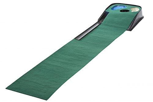 CEBEGO Golf Puttingmatte, Übungsteppich mit Hindernissen,Rücklaufschiene & Golfmagnet LOVE GOLF