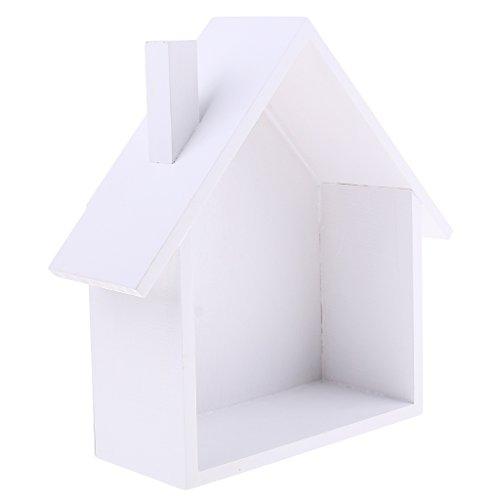 MagiDeal Mini Holz Haus Wandregal Aufbewahrungsbox Kasten CD Regal, 4 Farben - Weiß