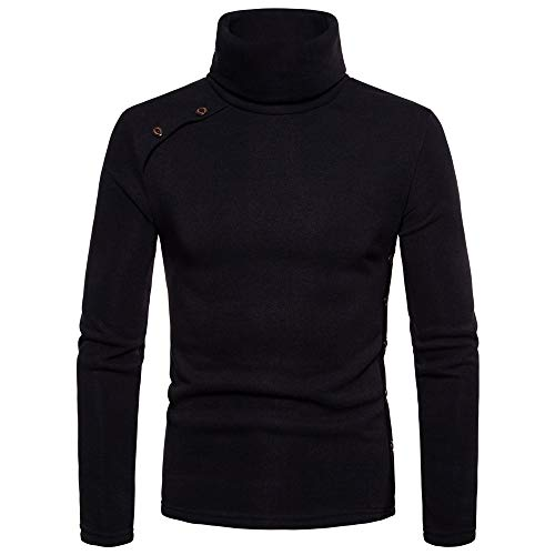 Uomo maglieria, longra felpa da uomo a collo alto maglione con button tinta unita pullover autunnale t-shirt manica lunga casual maglione invernale caldo maglioni