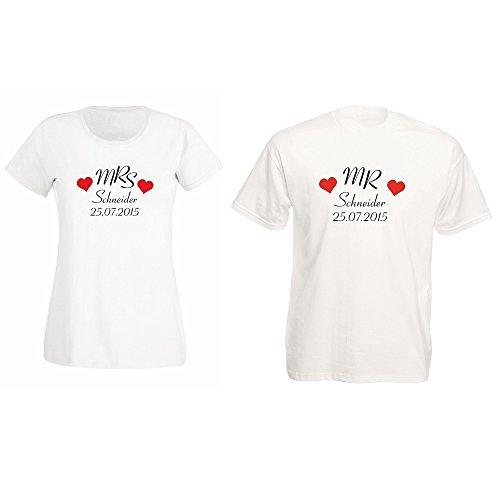 *Mr. und Mrs. Partner T-Shirts mit Familiennamen und Hochzeitsdatum – Hochzeitsgeschenk*