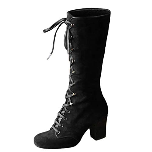 SSUPLYMY Lace-up Mid-Calf Boots Women Vintage Thick Heels Shoes Casual Wedge Boots Retro Low Boots High Heels Boots Ladies Fashion Gothic Chelsea Riding Boots