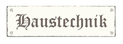 SCHILD Türschild « HAUSTECHNIK » Shabby Vintage Holzschild Dekoschild Dekoration Handwerker Werkstatt