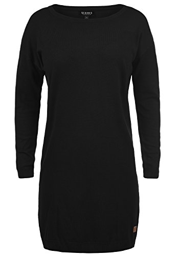 DESIRES Ella Damen Strickkleid Feinstrickkleid Kleid Mit Rundhals, Größe:M, Farbe:Black (9000)