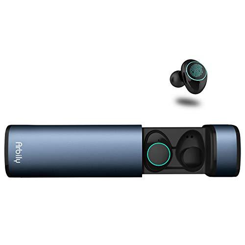 Arbily auricolari wireless cuffie bluetooth 5.0 mini cuffie in ear con scatola ricarica auricolare stereo palestra sport gym con microfono per iphone samsung huawei (alba)