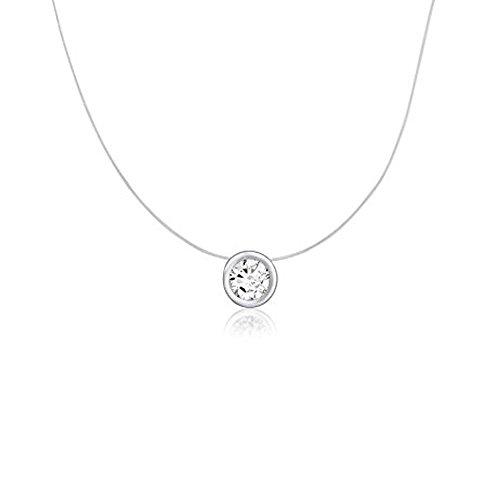 Halskette, Anhänger für Damen, aus Nylon, mit einem Solitär, Zirkonia, Halskette, Anhänger für Damen, Sterling-Silber 925