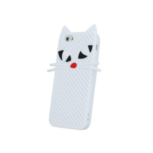 BACK CASE 3D Katze Kitten Für Apple iPhone 5 iPhone 5S iPhone 5G iPhone 5SE Silikonhülle Hülle Etui Flip Cover Silikon Tasche (weiß / white) weiß / white