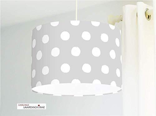 Lampenschirm mit großen Punkten in Grau für Kinderzimmer Babys als Deckenlampe oder Stehlampe -