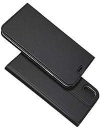 BoxTii iPhone XR Hülle, Magnetisch Dünn Edles Leder Schutzhülle mit Frei Panzerglas Displayschutzfolie für Apple iPhone XR (Schwarz)