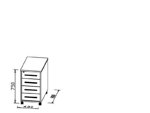 MAJA-Möbel 1714 3956 Anstell-Rollcontainer, Icy-weiß - weiß Hochglanz, Abmessungen BxHxT: 43 x 75 x 80 cm