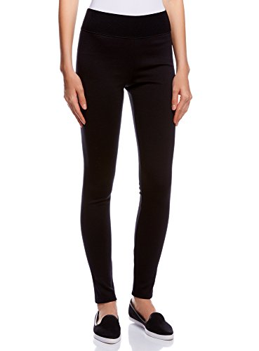 oodji Collection Damen Leggings mit Breitem Elastischem Bund, Schwarz, DE 40 / EU 42 / L