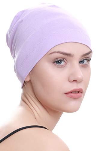 Deresina Headwear Coton uni Bonnet Pour La Perte De Cheveux, Chimo   Bonnet de Nuit (Lila)