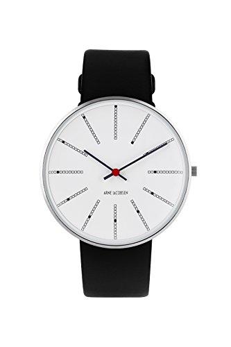 Arne Jacobsen Unisex-Armbanduhr, Quarzuhr, mit weißem analogem Zifferblatt, schwarzes Lederband 53102 (Jacobsen Uhr Arne)
