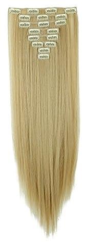 S-noilite - 8 Extensions 58 cm cheveux lisses et souples à clipser - extensions cheveux clips naturel-Ash Blond Mix Bleach Blond