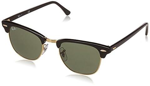 Ray Ban Unisex Sonnenbrille RB3016, Gr. Medium (Herstellergröße: 49), Mehrfarbig (Gestell: Schwarz/Gold, Gläser: Grün Klassisch W0365)