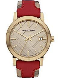 Burberry BU9017 Armbanduhr, Unisex, Schweizer Gold, Karomuster, Rotes Leder, Beige, Datumsanzeige, Bu9017