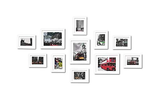 11er Bilderrahmen-Set Modern Weiss Echtholz Fotorahmen mit Glasscheibe 5*7 bis 8*10 Inch Bildergalerie/Bilderwand (Push-pin-bilderrahmen)