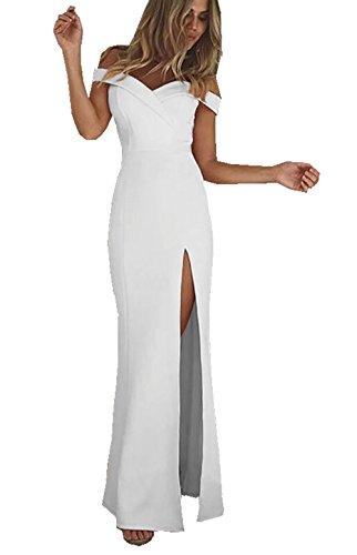 CoCo Fashion Damen Trägerlos Bustier Split Maxikleid Sexy Off Shoulder Langes Abendkleid Party Schulter Kleider (XL, Weiß)
