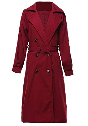 CuteRose Women Double Breasted Belted Tops Outwear Trim-Fit Lapel Overcoat Wine Red M Breasted Belted Wool Coat