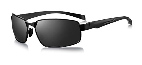 WHCREAT Herren Autofahren Polarisierte Sonnenbrille mit UV400-Schutzglas aus Vollrand-Metallrahmen - Schwarzer Rahmen Schwarze Linse