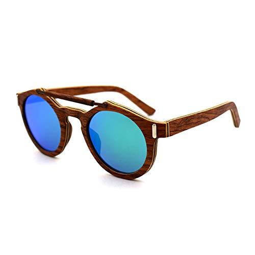 FYrainbow Männer und Frauen Holzsonnenbrillen, Nasensteg Aus Metall Retro Polarized Light Driving Gläser Sportgläser Bamboo und Wood Sonnenbrille TAC-Objektiv UV400,D