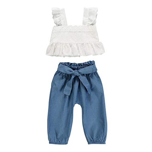 jerffer JERFER Infant Short Set Strap Rüschen Lace Tops Bow Denim Hosen 2PC Outfits Sets