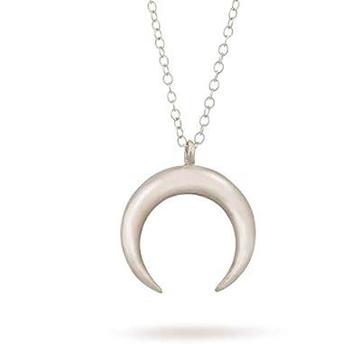 Collier double pendentif lune en argent sterling croissant minimaliste Longueur 41cm + extension de 5cm.