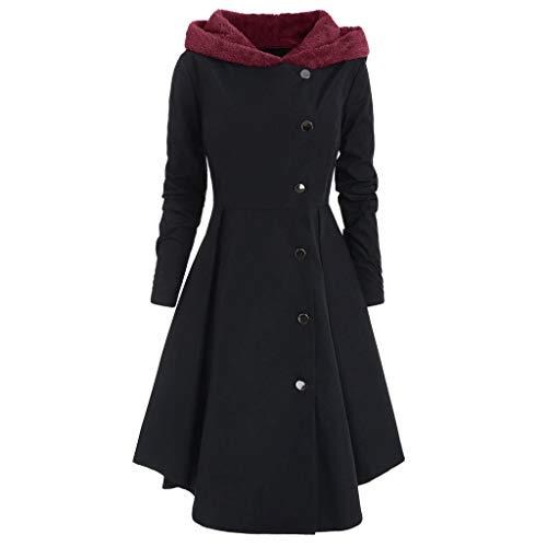 MYMYG 2019 Gotische Kleidung Damen Steampunk Schwalbenschwanz Langen Grabenmantel Mantel Edler Steampunk Uniform Kostüm Party Outwear Mantel Long Gothic Mantel Pulloverkleid (2 Schwarz, EU:42/CN-2XL)