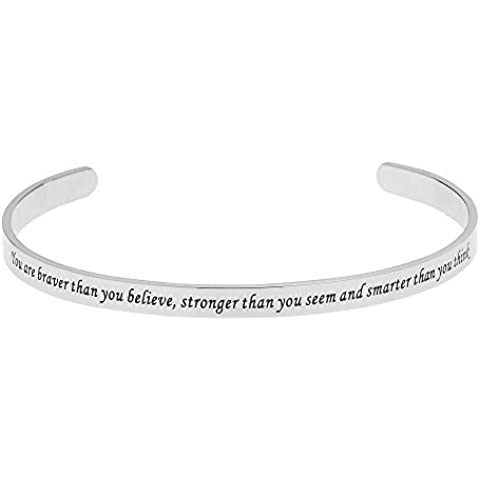 You Are Braver Than You Believe, Stronger Than You Seem..... Inspirational Bracelet by Beads & Pearls