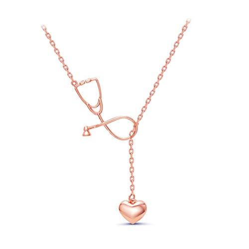 Buelgma Persönlichkeit Stethoskop Herz Anhänger Halskette Kreative Halsband Schlüsselbein Kette Schmuck Für Frau Dame Mädchen (Rose Gold Farbe)