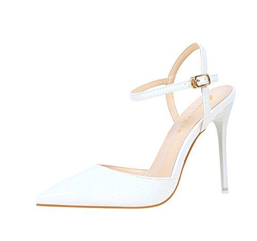 XINJING-S Schnalle High Heels Schuhe Party Hochzeit Frauen Pumps Heels OL Kleidung Schuhe Sandalen Weiß