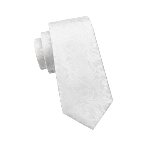 Hi-Tie Krawatten-Set für Herren, bestehend aus: Krawatte, Einstecktuch, Manschettenknöpfen; aus gewebter Seide, Floralmuster Gr. Einheitsgröße, weiß