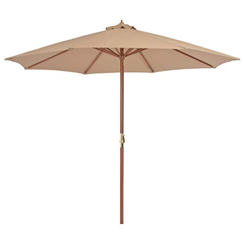 tidyard Parasol de Jardin | Parasol avec Mât en Bois | Parasol Balcon | Parasol Terrasse en Bois Anti-UV et Anti-décoloration 300 cm Taupe