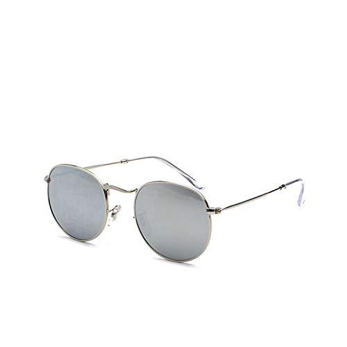 Sport-Sonnenbrillen, Vintage Sonnenbrillen, Classic Retro Polarized Sunglasses Männer's Round Frame Rock Punk Party Sun Glasses Male Color Film Small Size Glasses UV400 Silver Silver