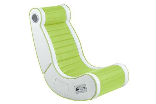 AC Design Furniture 0000060518 Musikstuhl Stephan, lederlook lime PU, Keder, Subwoofer, Seiten weiß