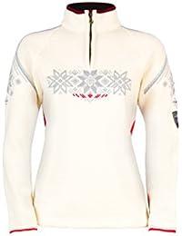 Dale of Norway - Jersey para mujer Holmenkollen, color blanco roto/frambuesa/metálico, talla M, 91551-A