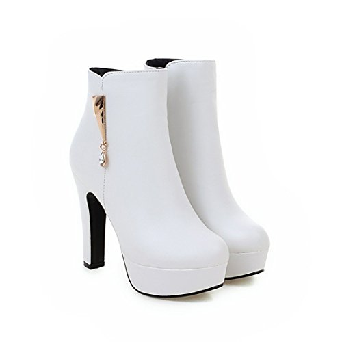 UH Femmes Chaussures Bottines à Cuissarde Talons Haut Aiguilles avec Plateforme et Metal Bout Rond Sexy et Simple Blanc
