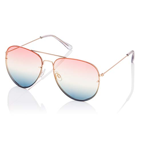 Aviator Gold Frame Pink to Blue Lenses Adult Pilot Style Sunglasses with UV400 Protection.