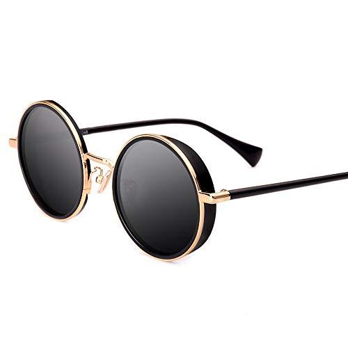 Idebris Sonnenbrille Herren Retro polarisierte Brille Flut Fahrbrille runde Fassung Sonnenbrille UV-Schutz weibliche Sonnenbrille (Color : Schwarz) -