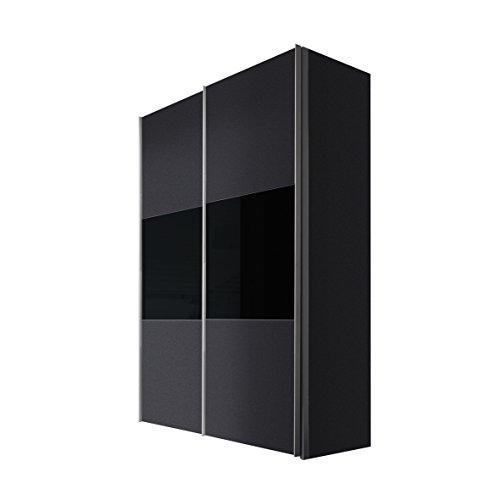 Express Möbel Schwebetürenschrank 150 cm Graphit Nachbildung, 2-türig, Absetzung Glas Schwarz, BxHxT 150x216x68 cm, Art Nr. 45880-972