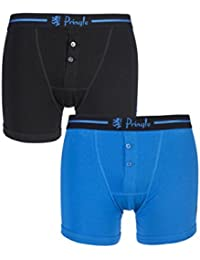Mens 2 Pack Pringle Henry Button Fly Fitted Boxer Shorts with Striped Waistband (Small, Black / Blue)