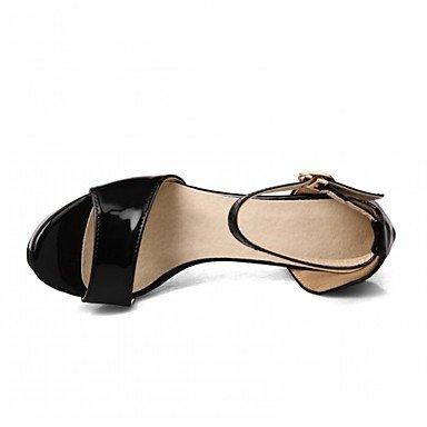 LvYuan Da donna Sandali Finta pelle PU (Poliuretano) Estate Autunno Footing Fibbia Quadrato Bianco Nero Argento Beige 10 - 12 cm White
