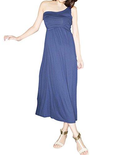 Damen Einschultrig Dehnbar Elastisch Design Freizeit Langes Kleid Blau