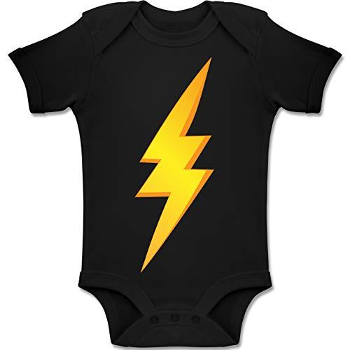 Der Blitz Kostüm Schwarze - Shirtracer Karneval und Fasching Baby - Blitz Kostüm - 18-24 Monate - Schwarz - BZ10 - Baby Body Kurzarm Jungen Mädchen